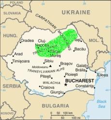 In verde, l'area rumena in cui abbiamo condotto il sondaggio sull'uso del passeggino.
